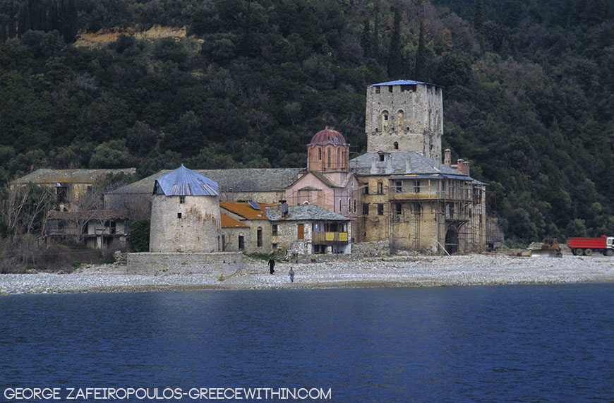 Zografu Abbey. Like a drawing near the sea.