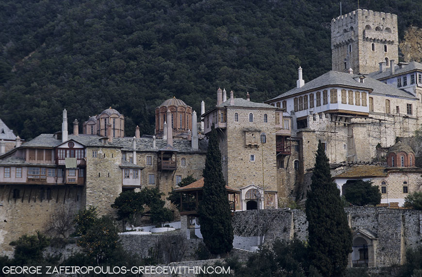 Docheiario Monastery. One of the most imposing buildings of Mount Athos.