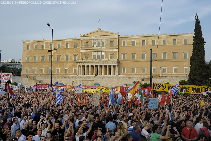 The indignant Greeks are passionately denouncing political incompetence.