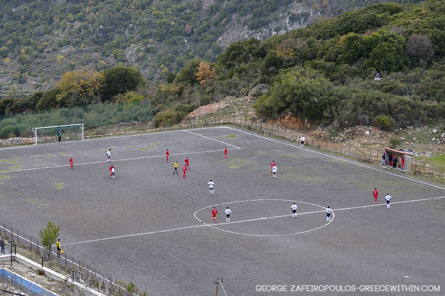 At an altitude of 1,000 meters the players and coaches' voices echoed on the mountains.