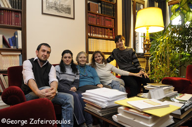 The headmistress of the Greek Institute professor Chrissa Maltezos with some Greek scholars.