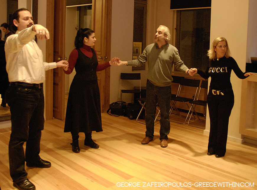 Turks learning Greek dances. There is a great interest about Greek arts in Constantinople.