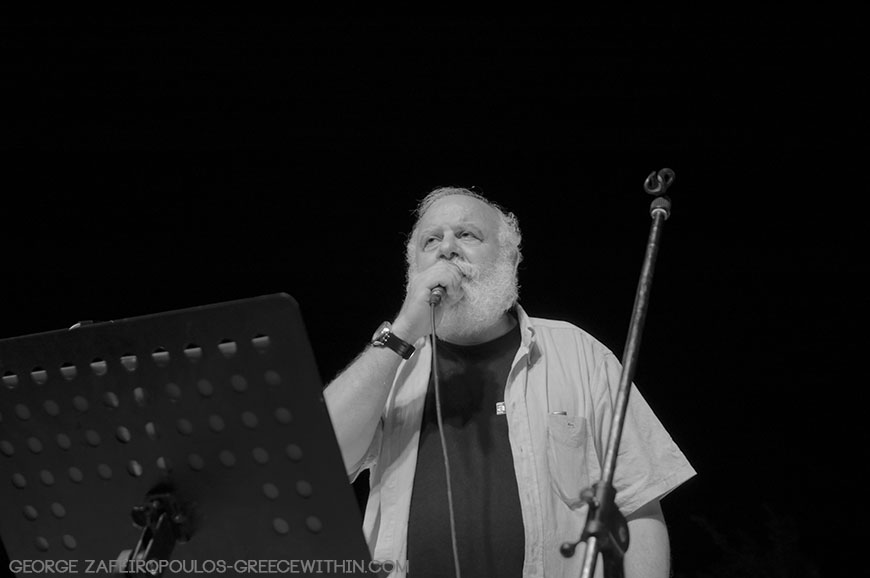 Lost in the darkness: one of his concerts in Saint Fotini in Amari of Rethymnon Crete.