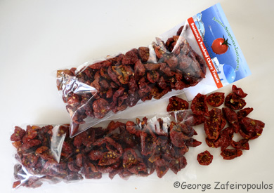 Sun-dried tomatoes made by a local producer.