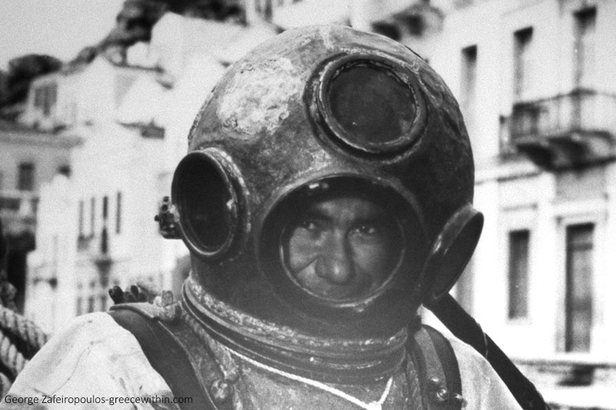 Sponge man in a diving suit connected to a diving machine (Folklore Museum of Symi).