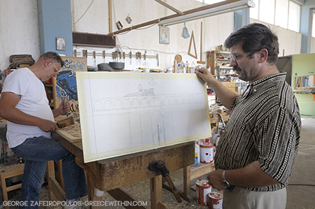 His co-workers have studied just like him, at the woodcarving school of Valtesiniko.
