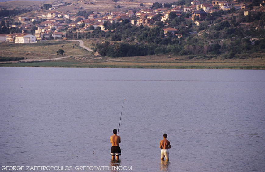 The residents in Arnissa complain that the lake's fish are getting fewer and fewer.