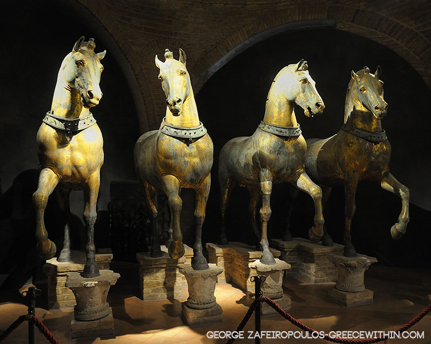 The four authentic gilded horses decorating Constantinople's race circus.