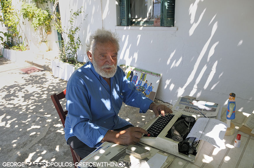He writes about the history of Sfakia and its people under a mulberry tree.