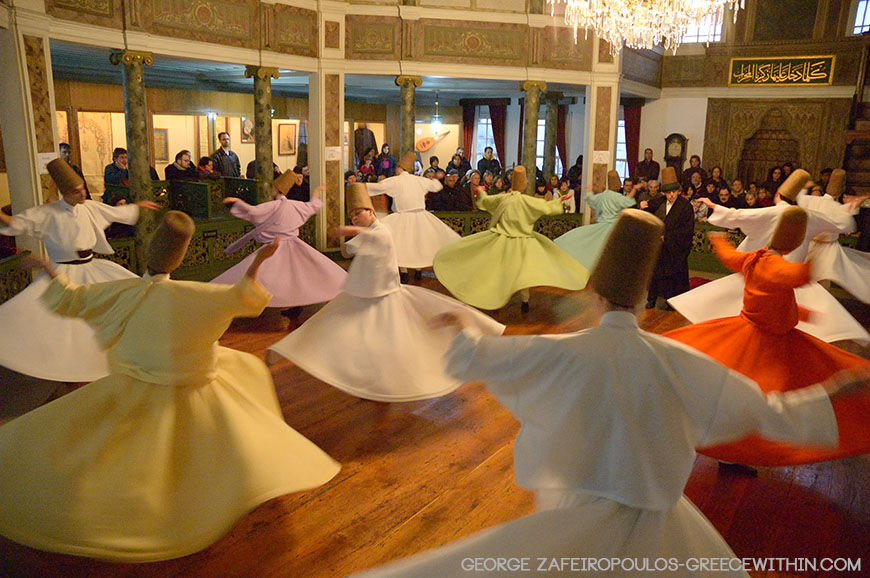 Dervishes of Chasan Dede's brotherhood twirling at Peran.