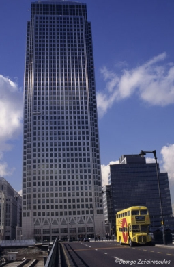 The Canary Wharf skyscraper has a height of 200 meters.