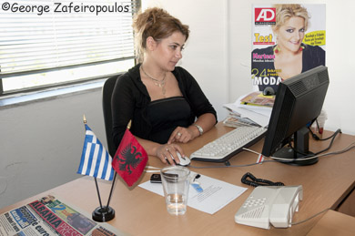 In the offices of the Albanian Press.